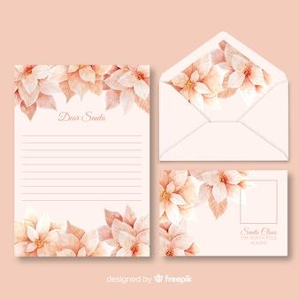 Plantilla de papelería navideña acuarela en tonos rosa