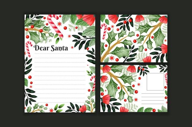 Plantilla de papelería navideña en acuarela