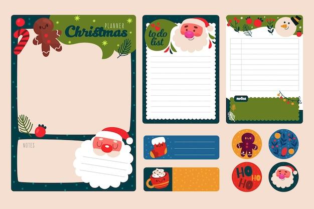 Plantilla de papelería navideña dibujada a mano