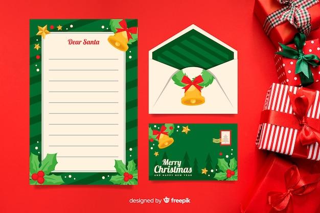 Plantilla de papelería navideña en diseño plano