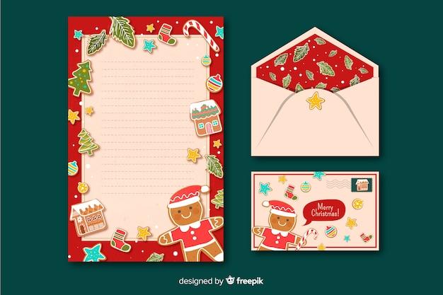 Plantilla de papelería navideña en estilo plano
