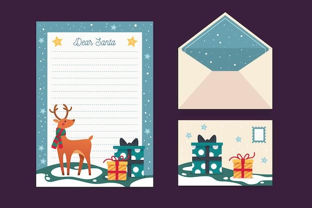 Plantilla de papelería navideña con renos
