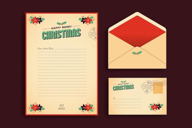 Plantilla de papelería navideña vintage