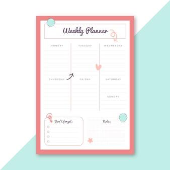 Plantilla de papelería de planificador semanal
