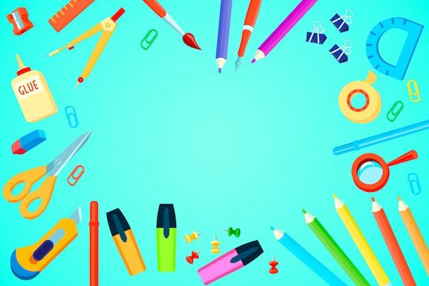 Plantilla de papelería de vista superior con coloridos suministros de oficina sobre fondo turquesa