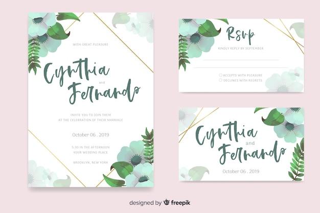 Plantilla de papeles y tarjetas de boda de estampado floral en acuarela