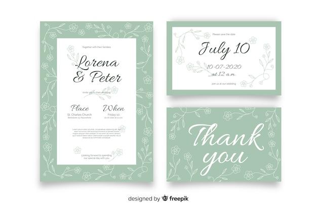 Plantilla de papeles y tarjetas de boda de estampado floral dibujado