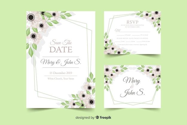 Plantilla de papeles y tarjetas de boda de estampado floral