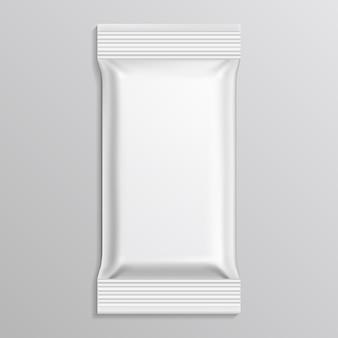 Plantilla de paquete blanco en blanco de flujo