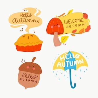 Plantilla de paquete de etiquetas de otoño