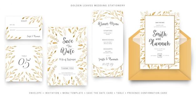 Plantilla de paquete de papelería de boda floral dorada moderna