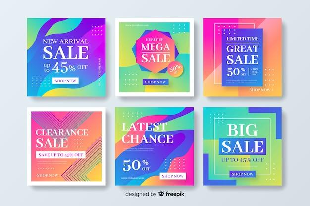 Plantilla de paquete de publicación de instagram para ventas