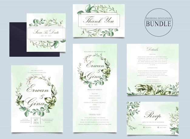 Plantilla de paquete de tarjeta de invitación de boda con hojas verdes