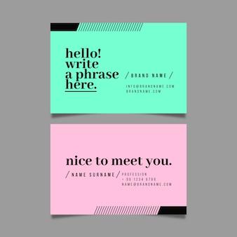 Plantilla de paquete de tarjeta de visita mínima colorida