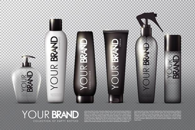 Plantilla de paquetes cosméticos realistas con botellas y contenedores.