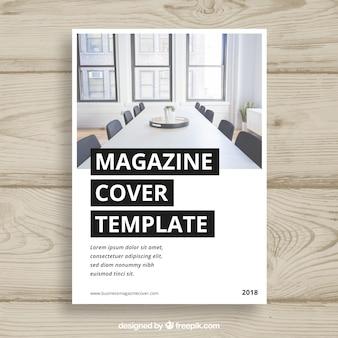 Plantilla para portada de revista de negocios con foto