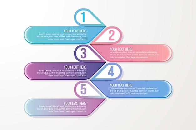 Plantilla paso a paso de infografía gradiente