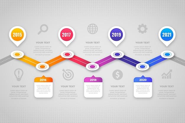 Plantilla de pasos de infografía degradada