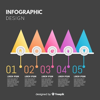 Plantilla pasos infografía diseño plano
