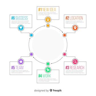 Plantilla de pasos de infografía de diseño plano