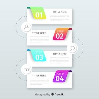 Plantilla de pasos de infografía gradiente