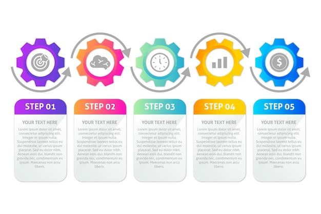 Plantilla de pasos de infografía en gradiente