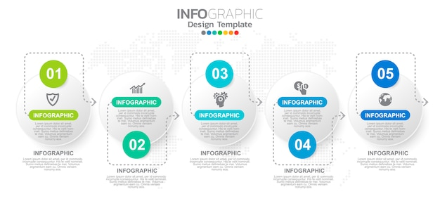 Plantilla de pasos de infografía marketing digital en línea para contenidos comerciales.