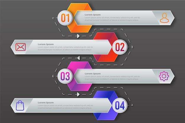 Plantilla de pasos de infografía plana
