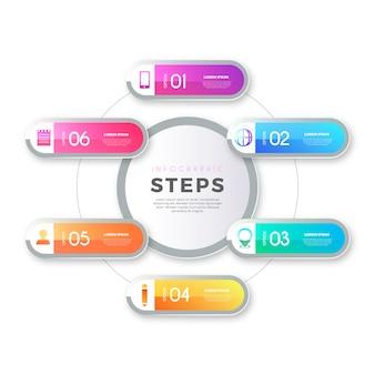 Plantilla de pasos de infografía