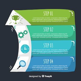 Plantilla de pasos infográficos dibujados a mano