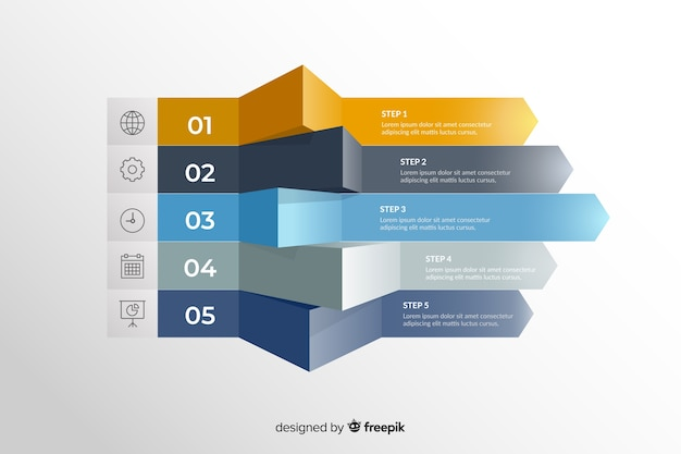 Plantilla de pasos de marketing de infografía gradiente