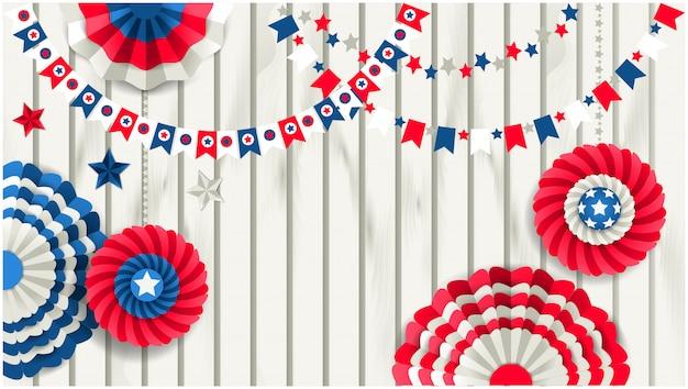 Plantilla patriótica con molinetes de papel colgando en la valla de madera