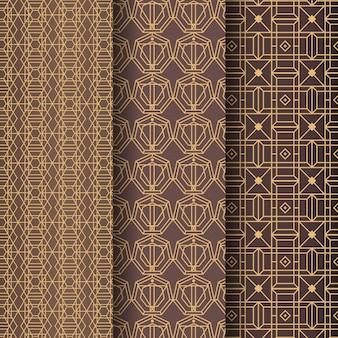 Plantilla de patrón art deco de líneas doradas