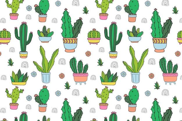 Plantilla de patrón de cactus dibujado a mano