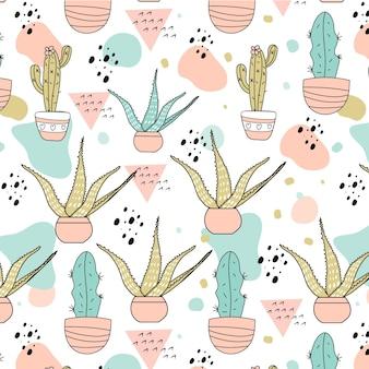 Plantilla de patrón de cactus pastel dibujado a mano