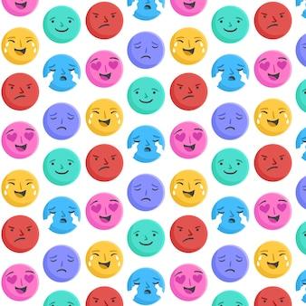 Plantilla de patrón de caras de emoticonos