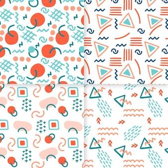 Plantilla de patrón dibujado a mano abstracto círculos y triángulos