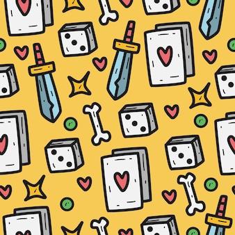 Plantilla de patrón de doodle de dibujos animados dibujados a mano