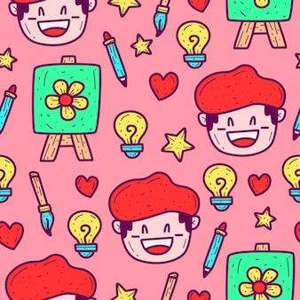 Plantilla de patrón de doodle de dibujos animados de pintor