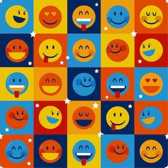 Plantilla de patrón de emoticonos cuadrados