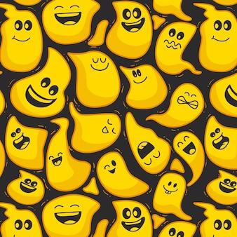 Plantilla de patrón de emoticonos distorsionados feliz de halloween