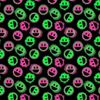 Plantilla de patrón de emoticonos distorsionados de neón
