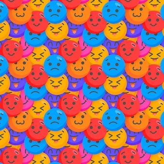Plantilla de patrón de emoticonos felices y tristes