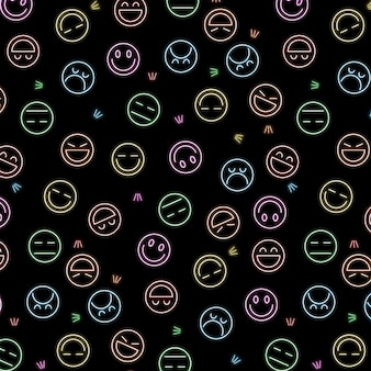 Plantilla de patrón de emoticonos de neón