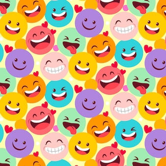 Plantilla de patrón de emoticonos riendo