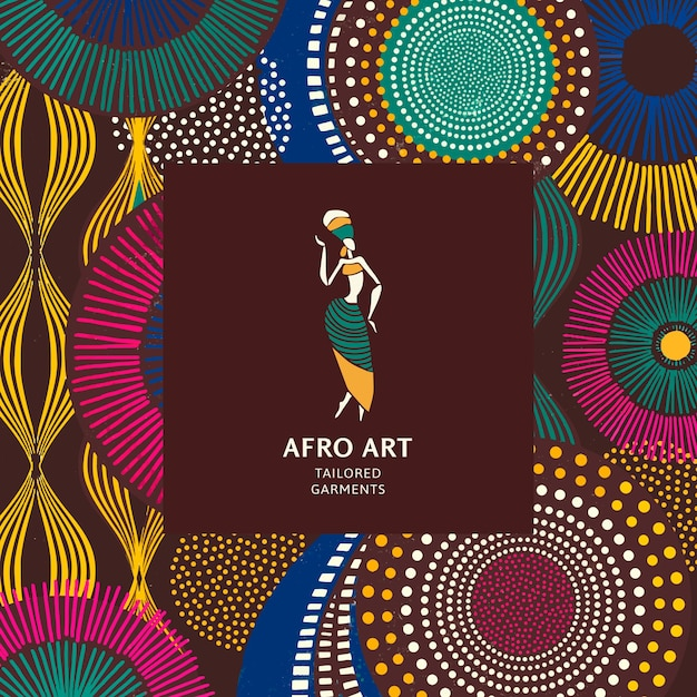 Plantilla de patrón étnico tribal africano para logotipo de marca