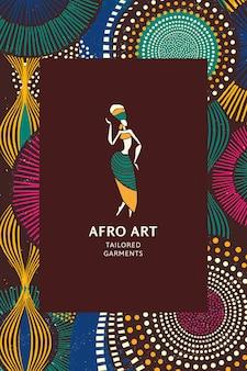 Plantilla de patrón étnico tribal africano con logotipo mínimo