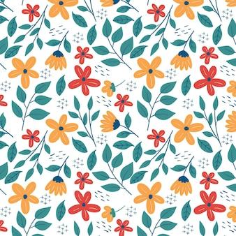 Plantilla de patrón floral de hojas y flores diminutas