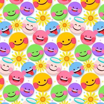 Plantilla de patrón de flores y emoticonos