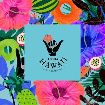 Plantilla de patrón de flores tropicales con logo mínimo